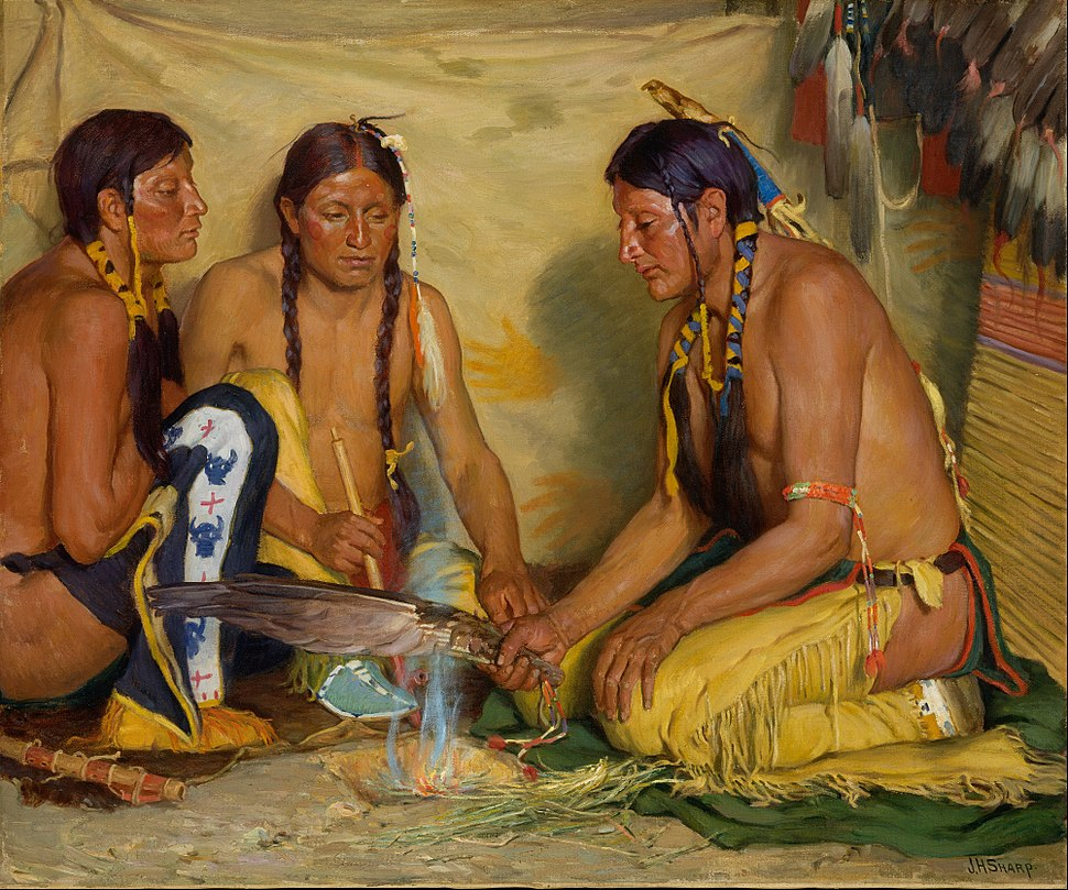 Joseph Henry Sharp - Making Sweet Grass Medicine, Blackfoot Ceremony - Google Art Project