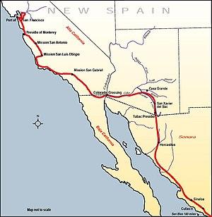 Juan Bautista de Anza National Historic Trail - Map of the route Juan Bautista de Anza travelled in 1775–76 from Mexico to today's San Francisco via the Gila River corridor and the Yuma Crossing of the Colorado River.