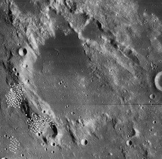 Julius Caesar (crater) - Mosiac of Lunar Orbiter 4 images (White blemishes in lower left are present on original images)