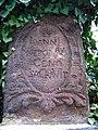 Křivoklát, sloup s sochou svatého Jana Nepomuckého, nápis na podstavci.jpg