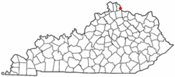 Location of Mentor, Kentucky