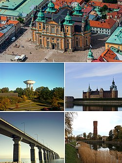 Aerial view of the Kalmar Cathedral, the water tower in Berga, Kalmar Castle, Öland Bridge and the old water tower in central Kalmar.