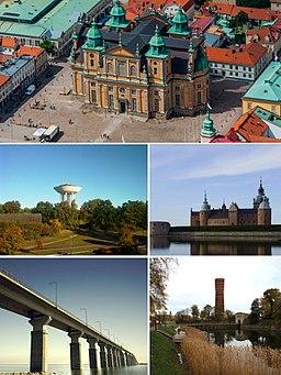 Kalmar domkirke, Vandtårnet i Berga, Kalmar-Slot, Ölandsbron og det Gamle vandtårn.