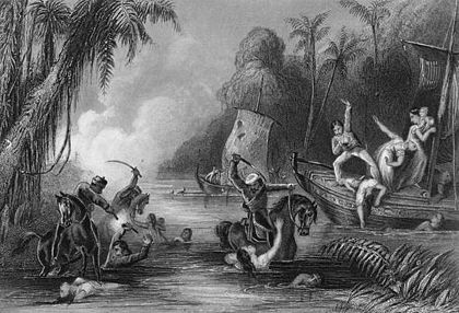 A contemporary image of the massacre at the Satichaura Ghat - Indian Rebellion of 1857