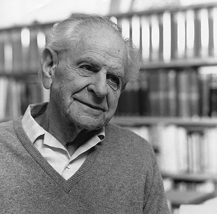 The Austrian-British philosopher of science Karl Popper (1902-1994) in 1990. He is best known for his work on empirical falsification. Karl Popper2.jpg