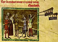 A crowned woman, surrounded by two bearded men, meets a crowned man while two young men are blowing trumpets