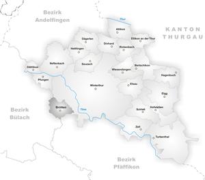 Brütten - Image: Karte Gemeinde Brütten
