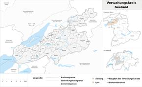 Karte von Verwaltungskreis Seeland