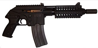 Kel-Tec PLR-16 - PLR-16 fitted with 30-round M16 STANAG magazine, compact forend, and Levang linear recoil compensator