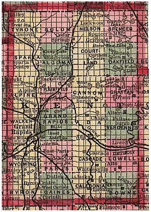 Kent County, Michigan - A Public Land Survey System survey of Kent County in 1885, showing 24 named townships and sectional subdivisions