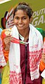Kimiko Raheem (SRI LANKA) won Gold Medal in Women's 100m Freestyle Swimming, at the 12th South Asian Games-2016, in Guwahati (cropped).jpg