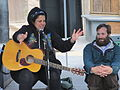 Kimya Dawson makes a point while Paul Baribeau listens.JPG