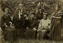 King of Sikkim with a group of Lama, Darjeeling, India, c. 1900