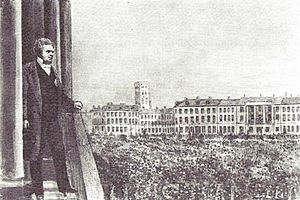 1863 in Denmark - C. C. Hall proclaiming Frederick VII's death and Christian IX's ascent to the throne deom Christiansborg Palace