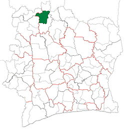 Location in Ivory Coast. Kouto Department has retained the same boundaries since its creation in 2008.