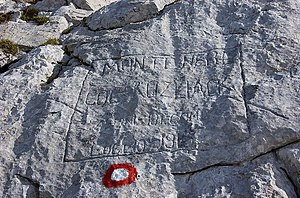 2nd Alpini Regiment - An inscribed stone of the 2nd Alpini Regiment at Monte Nero (now northwestern Slovenia)