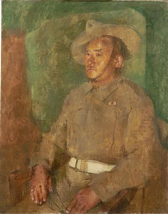 "William Coldstream - Kulbir Thapa, had won the Victoria Cross in 1915 ""For most conspicuous bravery during operations against the German trenches South of Manquisart."" (Art.IWM ART LD3992)"