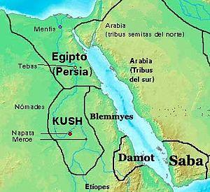 Mapa de Kush al 400 a.C.