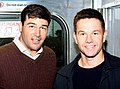 Kyle Chandler and Mark Wahlberg on the set of Broken City in New York, November 2011.jpg