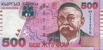 """Vasily Radlov - Vasily Radlov on Kyrgyz bank note """"00 Som in Kyrkyz costume"""
