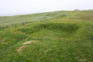 L'Anse aux Meadows, mounds from original Viking Longhouse.JPG
