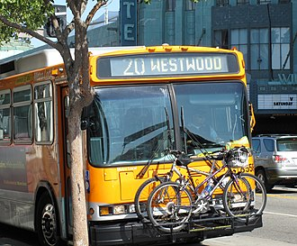 Intermodal passenger transport - Two bicycles on the rack of the Los Angeles Metro bus