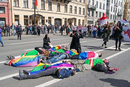 "A public demonstration, ""Chechen mothers mourn their children"", was staged on 1 May 2017 on Nevsky Prospect in Saint Petersburg, to protest the persecution of gay men in Chechnya. LGBT in Chechnya.jpg"