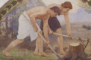 Detail from Labor mural in lunette from the Fa...