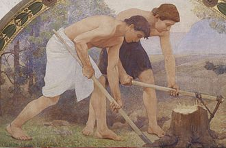 Manual labour - Detail from Labor, Charles Sprague Pearce (1896).
