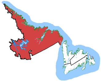 Labrador (electoral district) - Labrador in relation to other Newfoundland and Labrador ridings (2003 boundaries)