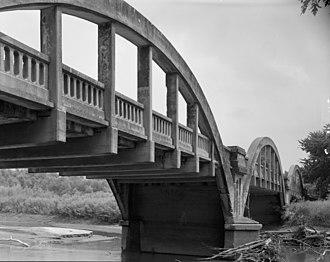 Lake City, Iowa - Rainbow Bridge, designed by James Barney Marsh, located over the Raccoon River southwest of Lake City.