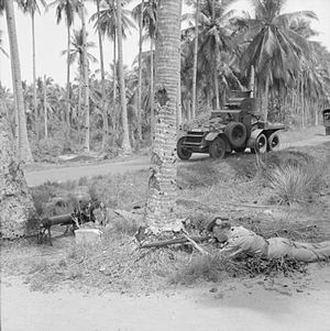 Argyll and Sutherland Highlanders - Men of the 2nd Argyll and Sutherland Highlanders training with a Lanchester six-wheeled armoured car in the Malayan jungle on 13 November 1941.