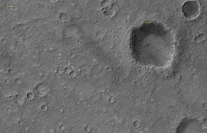 Spirit (rover) - Spirit landing site, as imaged by MRO (December 4, 2006); click image to enlarge