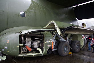 Transall C-160 - The auxiliary power unit and port-side main landing gear of a Luftwaffe C-160, 2008