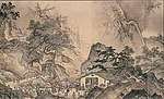 Two houses in a landscape with trees and high mountains. A large number of people is on the path leading from one house to the other.