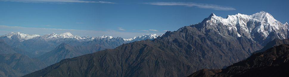 Panoramic view of Langtang Range in Nepal