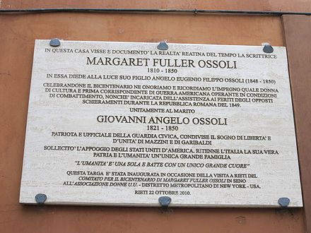 Plaque placed in 2010 on the house in Rieti Largo Margaret Fuller Ossoli (Rieti) lapide commemorativa.JPG