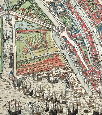 Lastage - Detail of a woodcut from 1544 by Cornelis Anthonisz. showing the Lastage area, with Oudeschans on the left and Geldersekade on the right.