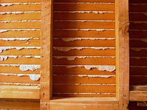 Lath - Sawn lath seen from the back with hardened plaster from the other side showing through. Sawn lath became popular after the introduction of the circular saw in the early to mid 19th century.