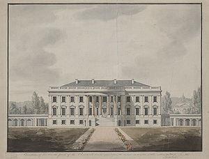 1817 study of the White House south facade bas...