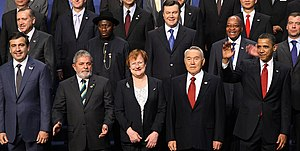 Goodluck Jonathan - President Jonathan posing with other world leaders at the 2010 Nuclear Security Summit. (second row, second from the left behind Luiz Inácio Lula da Silva)