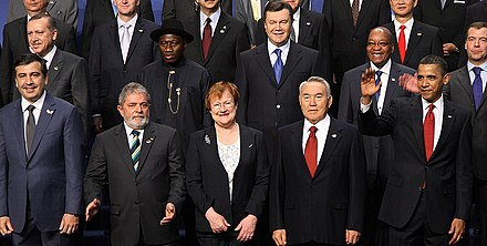 President Jonathan posing with other world leaders at the 2010 Nuclear Security Summit. (second row, second from the left behind Luiz Inacio Lula da Silva) LeadersNuclearSummit.JPG