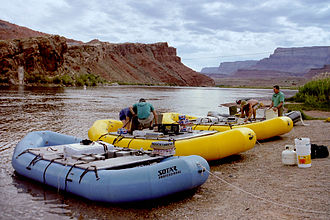 Lee's Ferry - Inflatable rafts lined up for launch at Lee's Ferry
