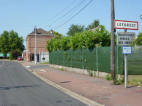 Leforest (Pas-de-Calais, Fr) city limit sign.JPG