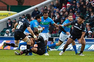 Rugby union in Italy - Benetton Treviso in blue take on English club Leicester Tigers during the 2012-13 Heineken Cup.