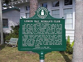 Lemon Bay Woman's Club - Image: Lemon Bay Woman's Club sign