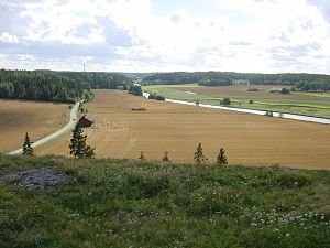 Old Castle of Lieto - View from the Old castle of Lieto, Finland, in August 2007. View to the south from the castle rock. On the left the Hämeen härkätie. On the right the Aura River.