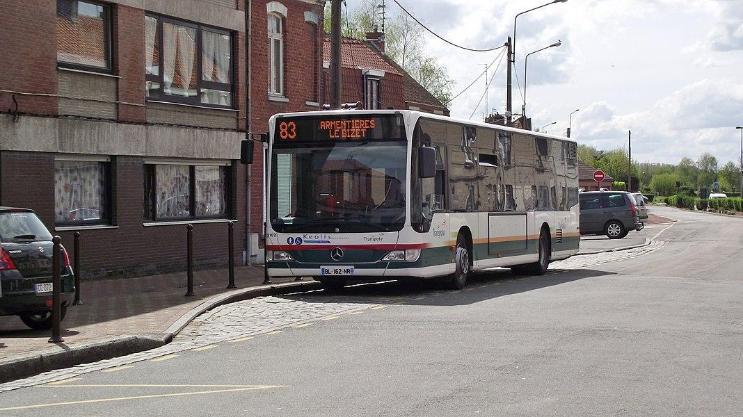 Buslijn 85 Armentières-Bizet aan de grens