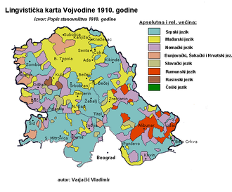 Croats of Serbia - Linguistic map of Vojvodina according to 1910 census.