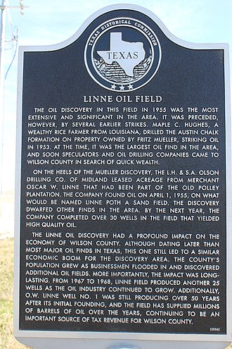 Sutherland Springs, Texas - Texas Historical Commission marker, Linne Oil Field